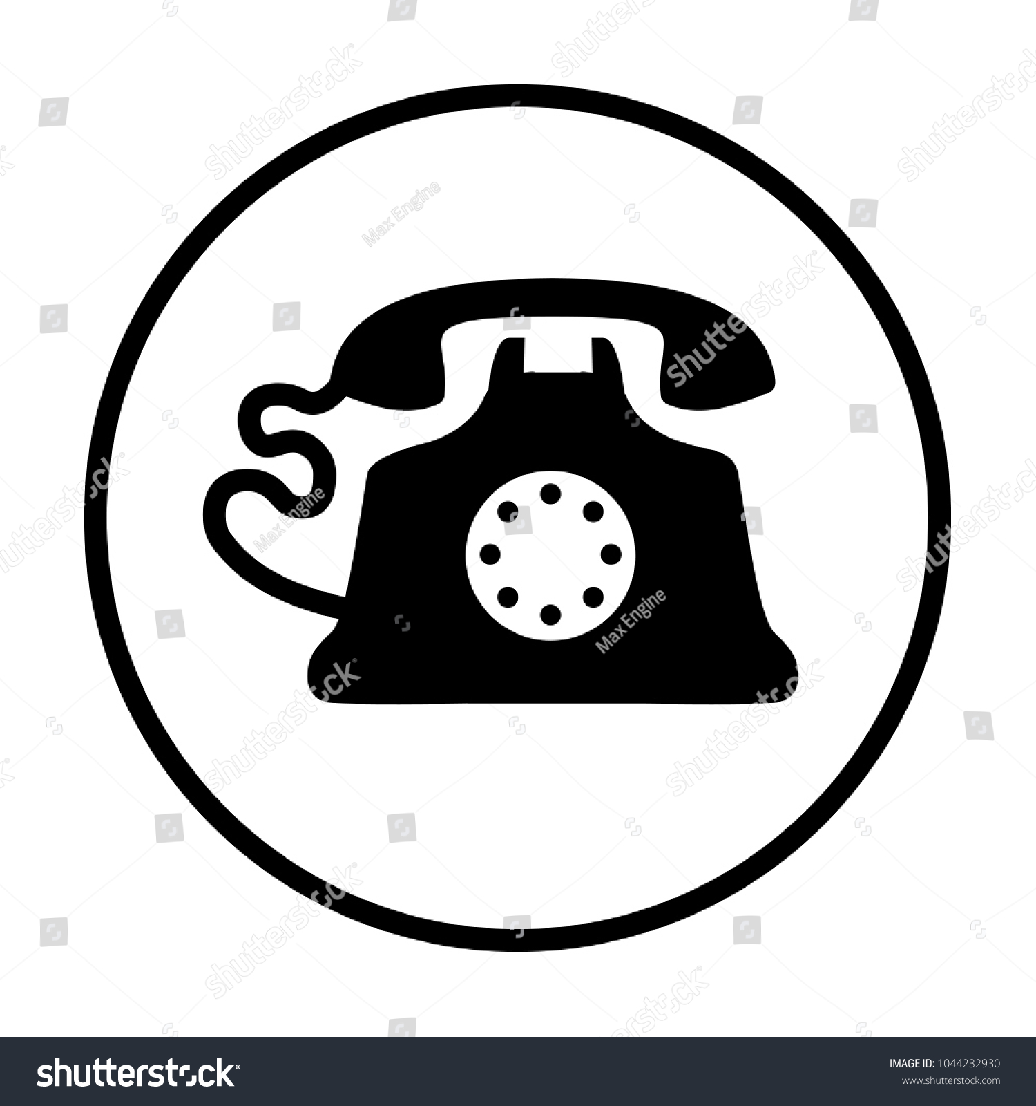 Old Home Phone Icon Stock Vector Royalty Free 1044232930