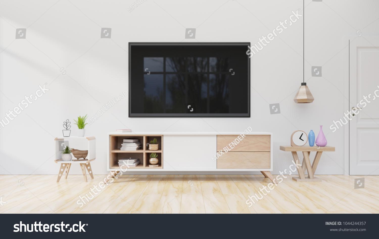 Interior Living Room TV On Cabinet Stock Illustration 1044244357 ...