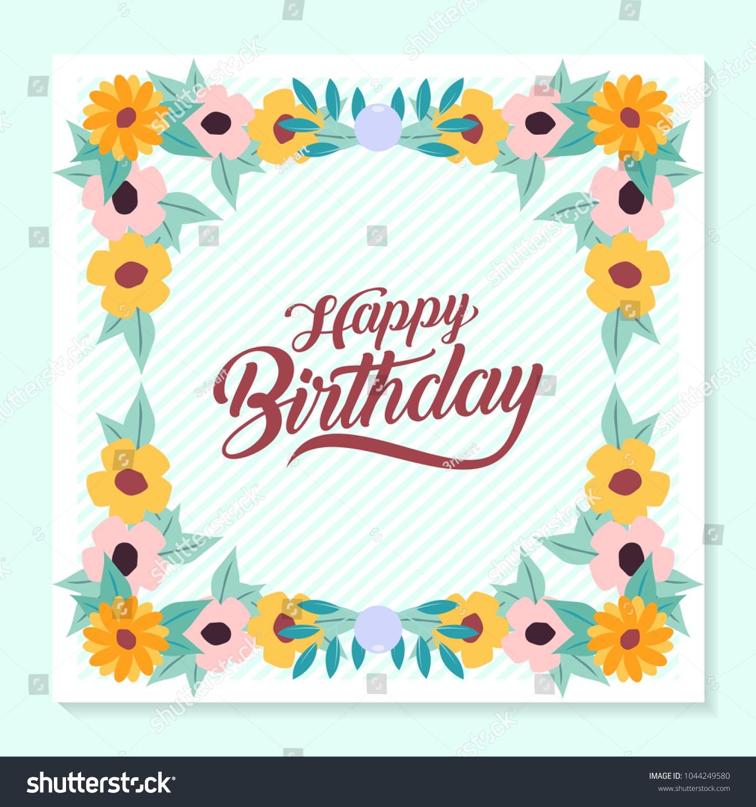 Flower Birthday Greeting Card Stock Vector Royalty Free 1044249580