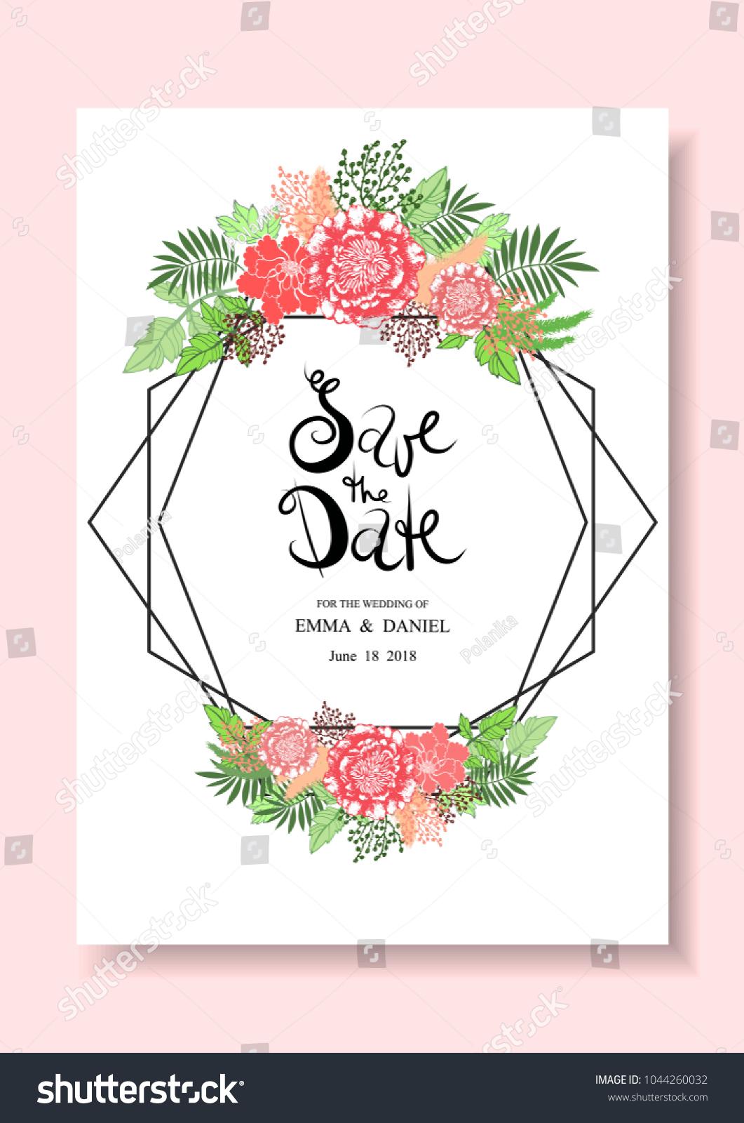 Wedding Invitation Card Vector Floral Romantic Stock Photo (Photo ...