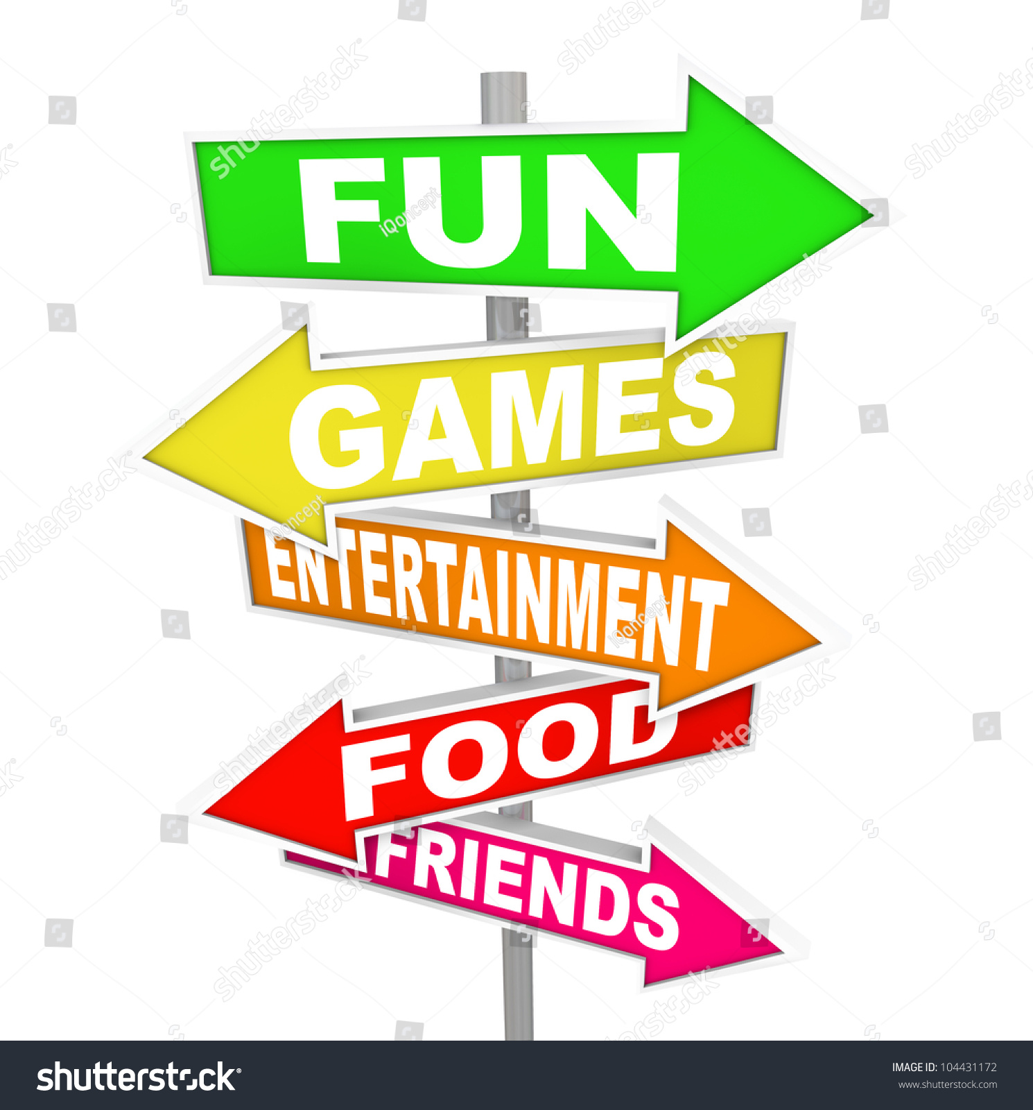 Food And Activities: Words Fun Games Entertainment Food Friends Stock