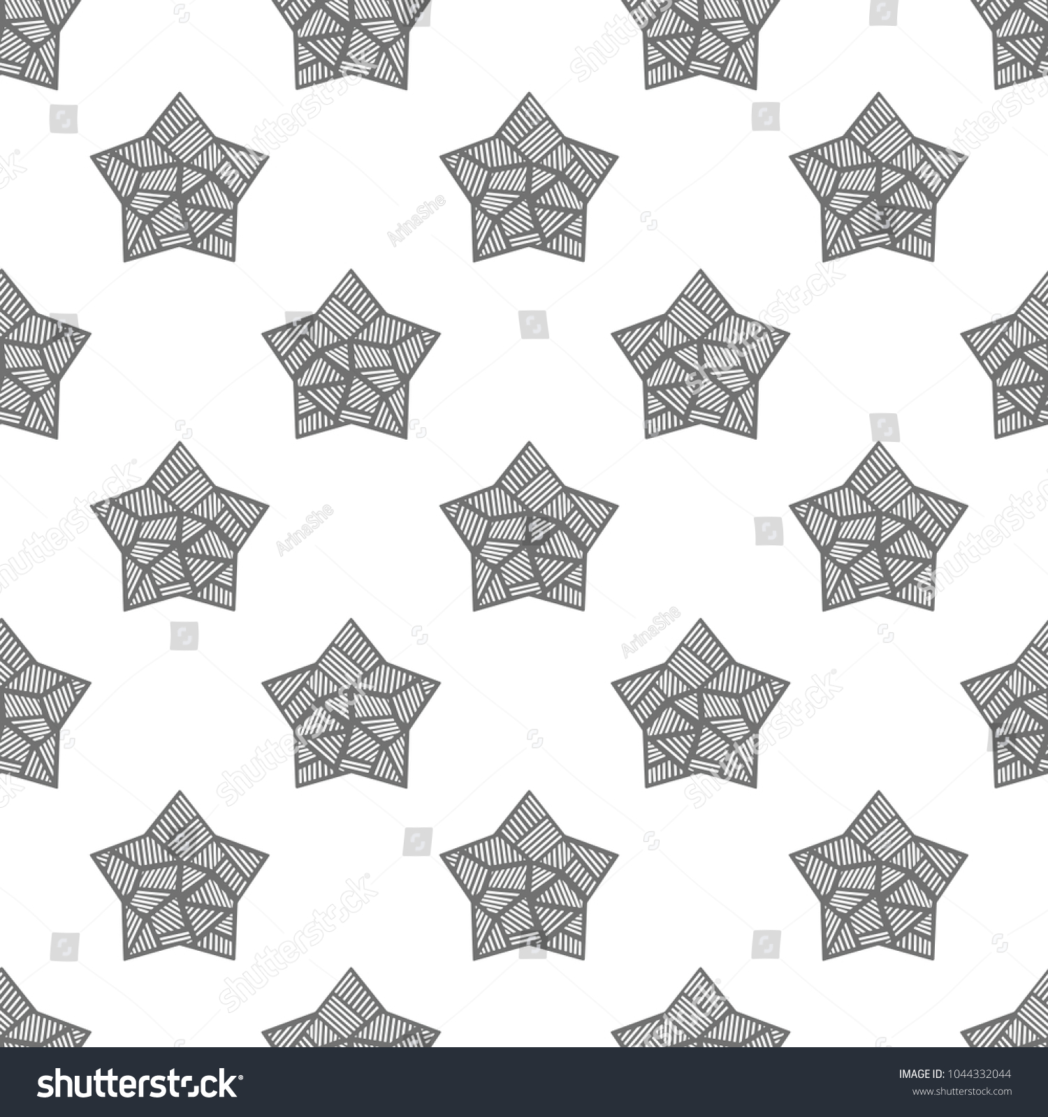 Beautiful Pattern Handdrawn Stars Shape Star Stock Vector Royalty