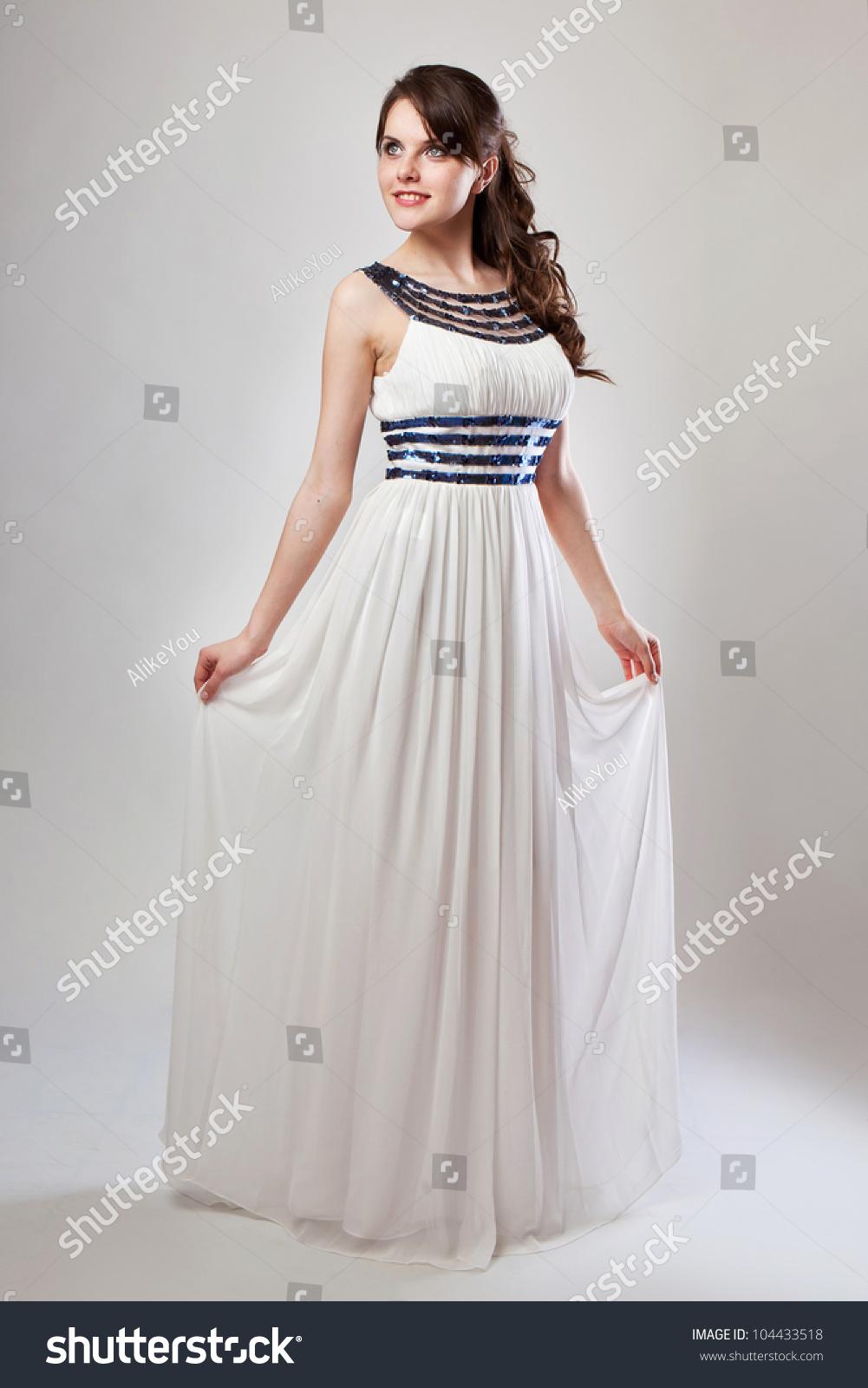 Girl Poses Wedding Dress Studio Shooting Stock Photo (Royalty Free ...
