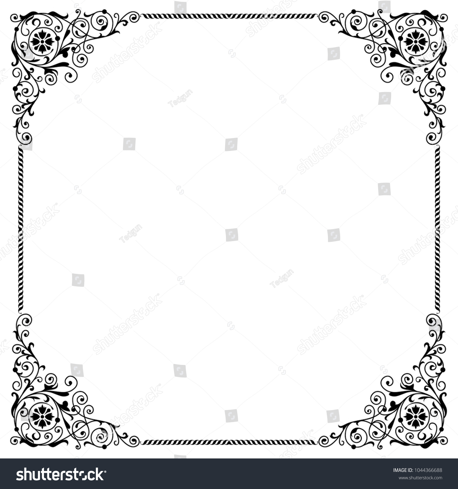 Vintage Black And White Frame Border Floral Elements In The Corners Useful For Greeting