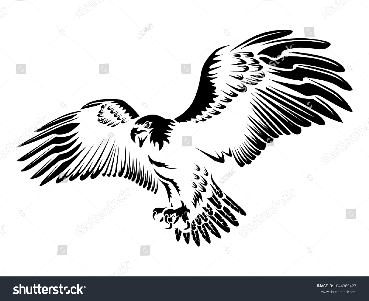 Eagle Emblem Isolated On White Vector Illustration American Symbol