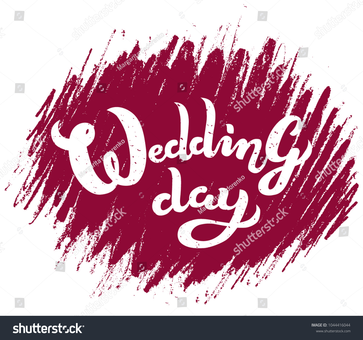 Hand Drawn Wedding Day Textured Typography Stock Vector (Royalty ...