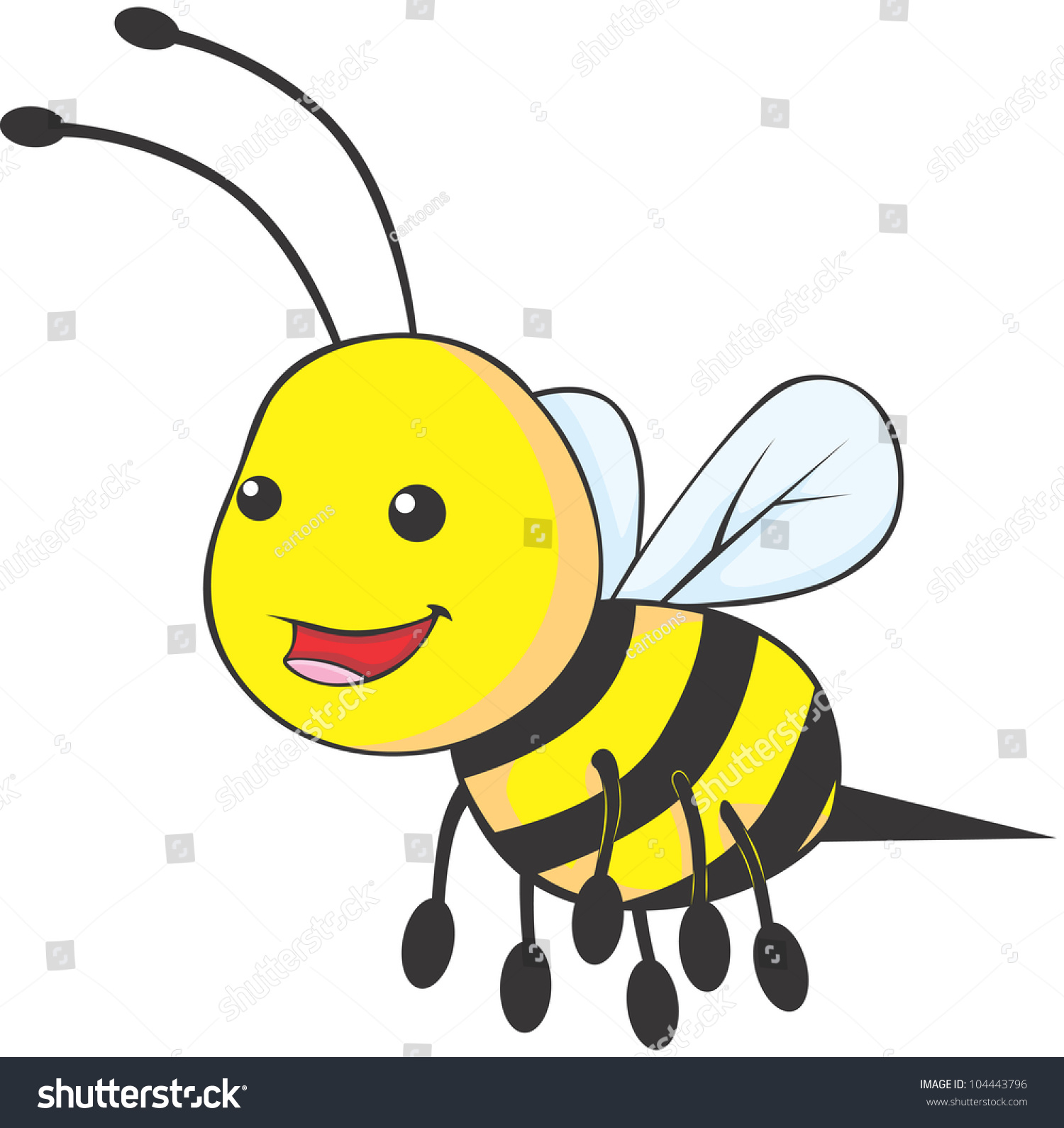 Happy Baby Bee Cartoon Stock Vector 104443796 - Shutterstock