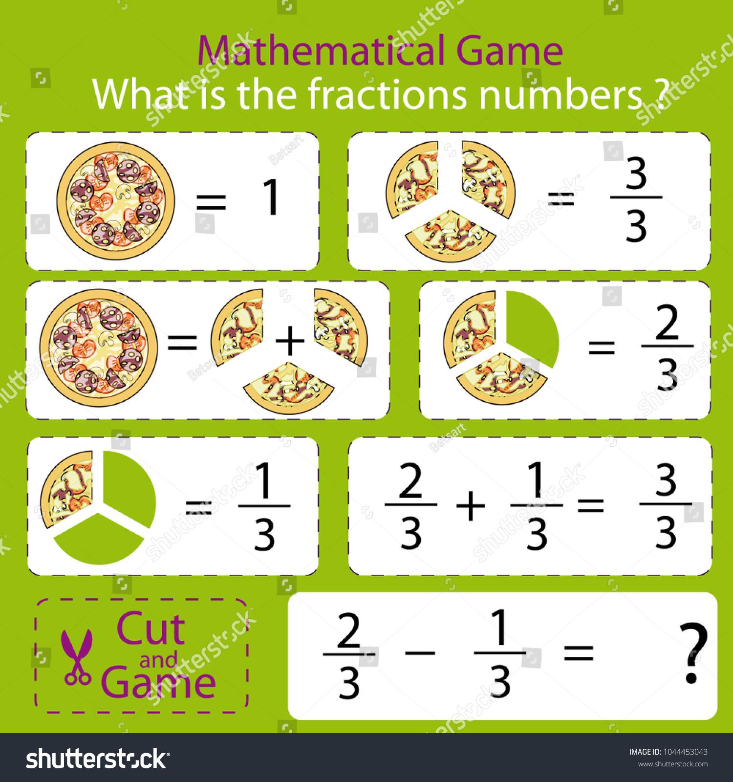 Mathematical Educational Tasks Kids Study Fractions Stock Vector ...