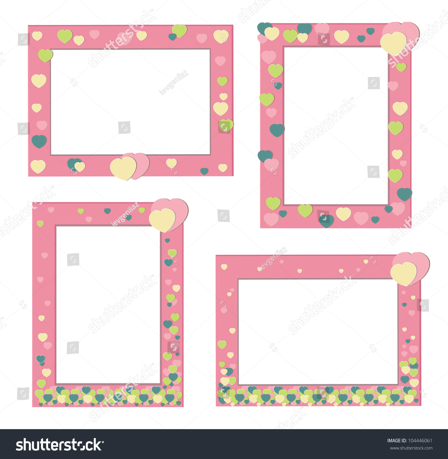 Set Cute Pink Frames Decorated Hearts Stock Photo (Photo, Vector ...
