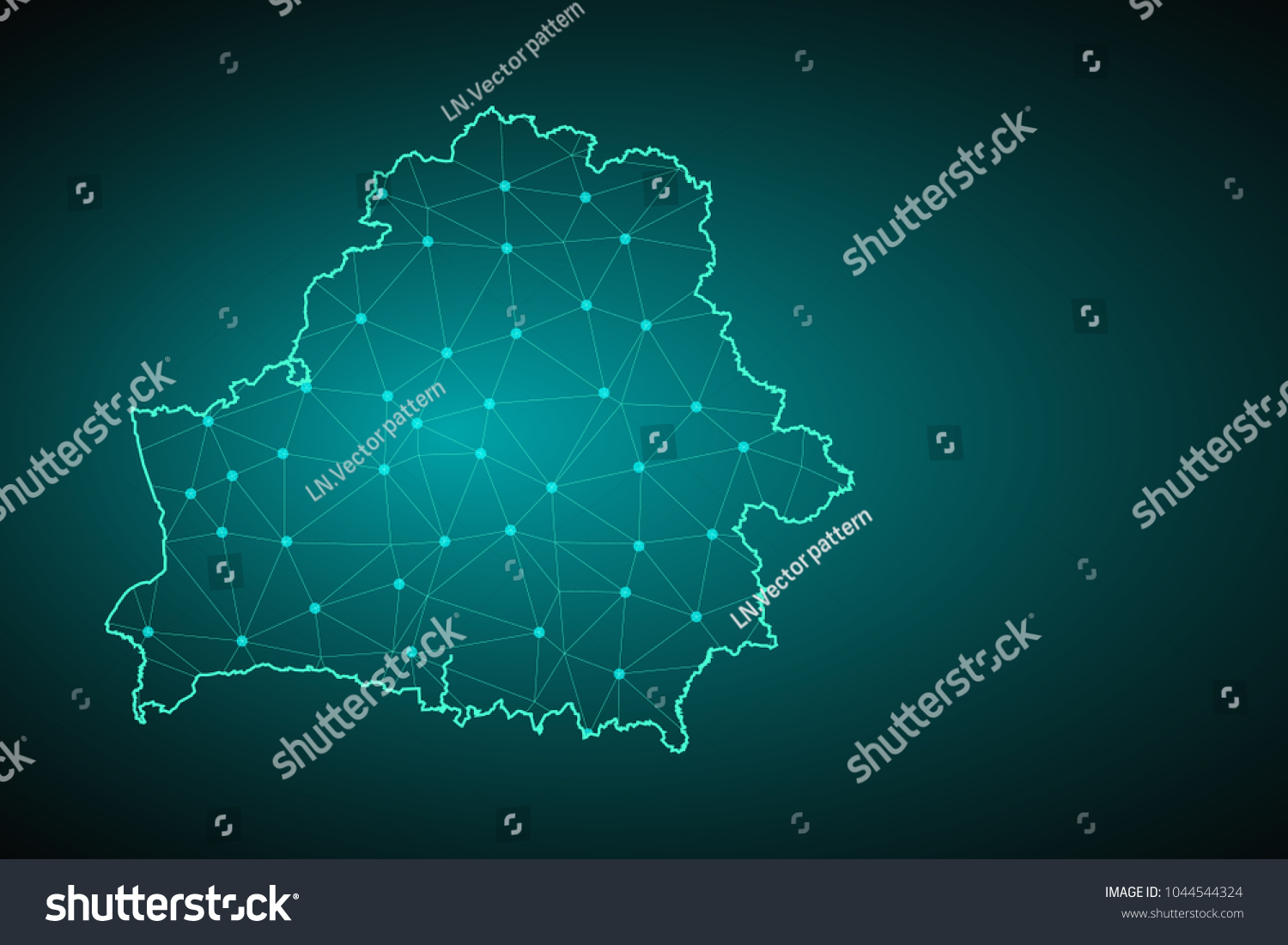 Map of Belarus from Polygonal wire frame low poly mesh, contours network  line, luminous
