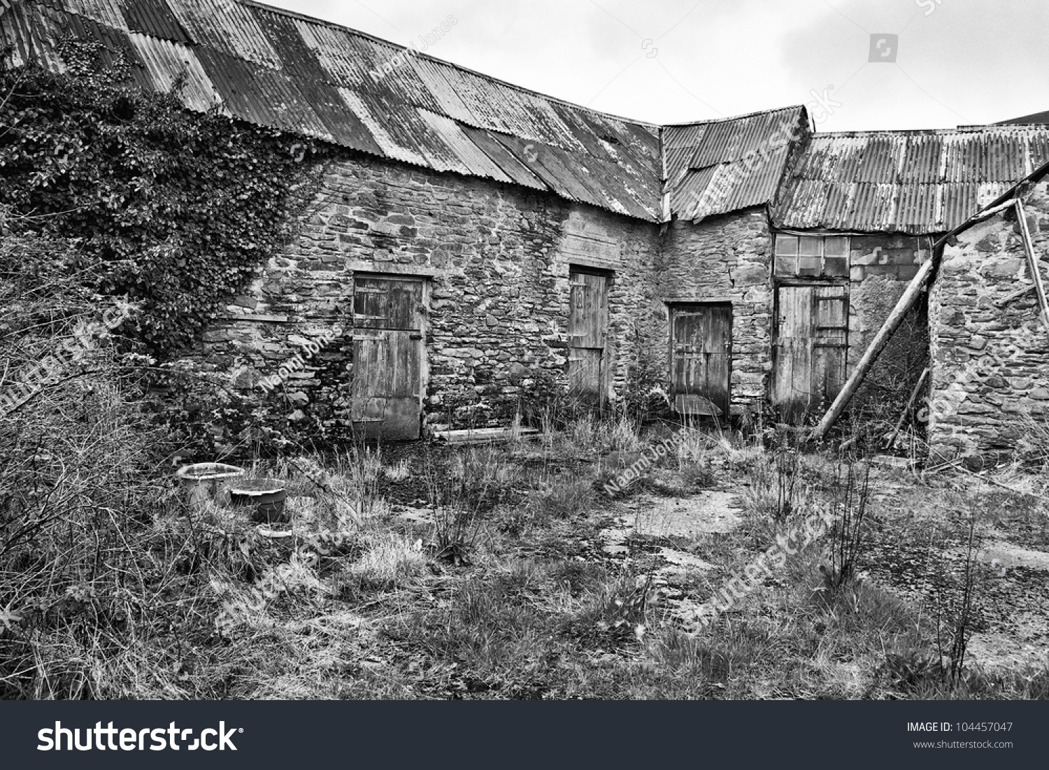 Old farm buildings black white stock photo edit now 104457047