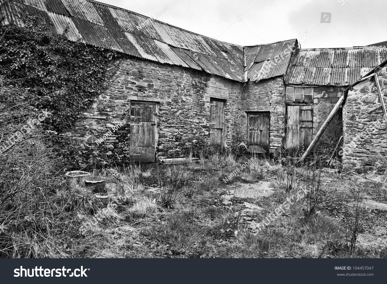 Old farm buildings black white stock photo edit now 104457047