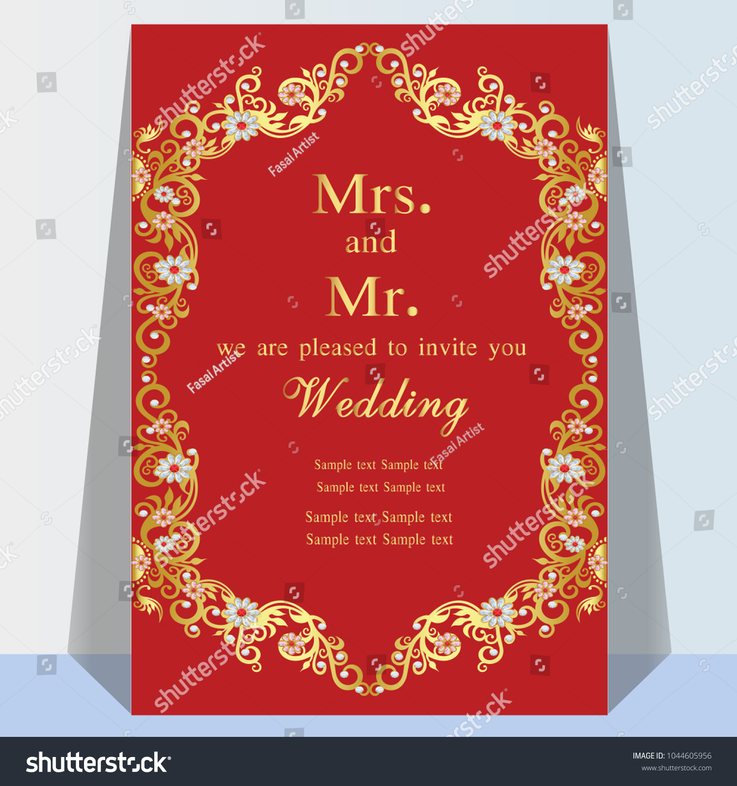 Vintage Invitation Wedding Cards Template Frame Stock Vector ...