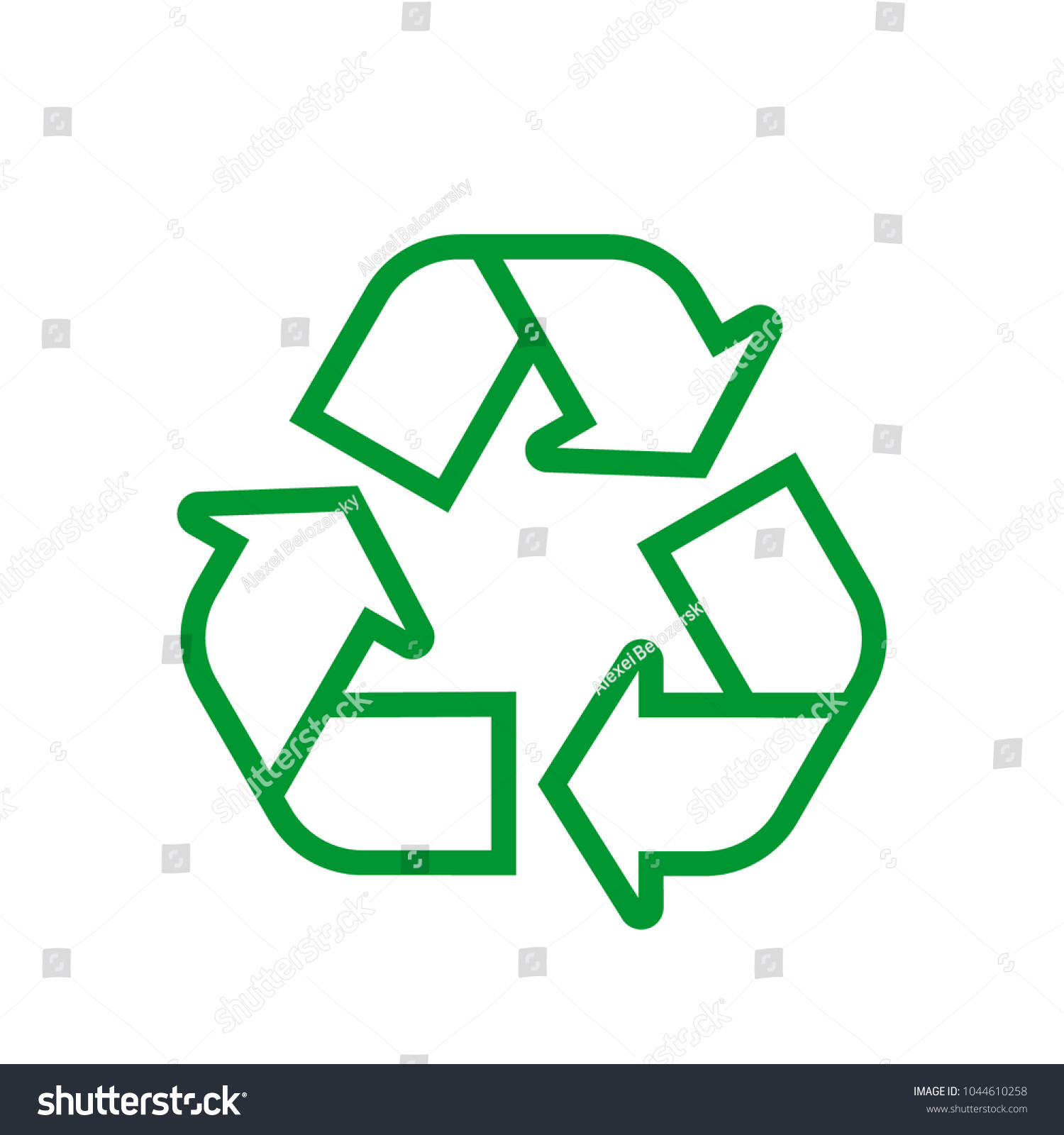 Green Recycle Icon Isolated On White Stock Vector 1044610258