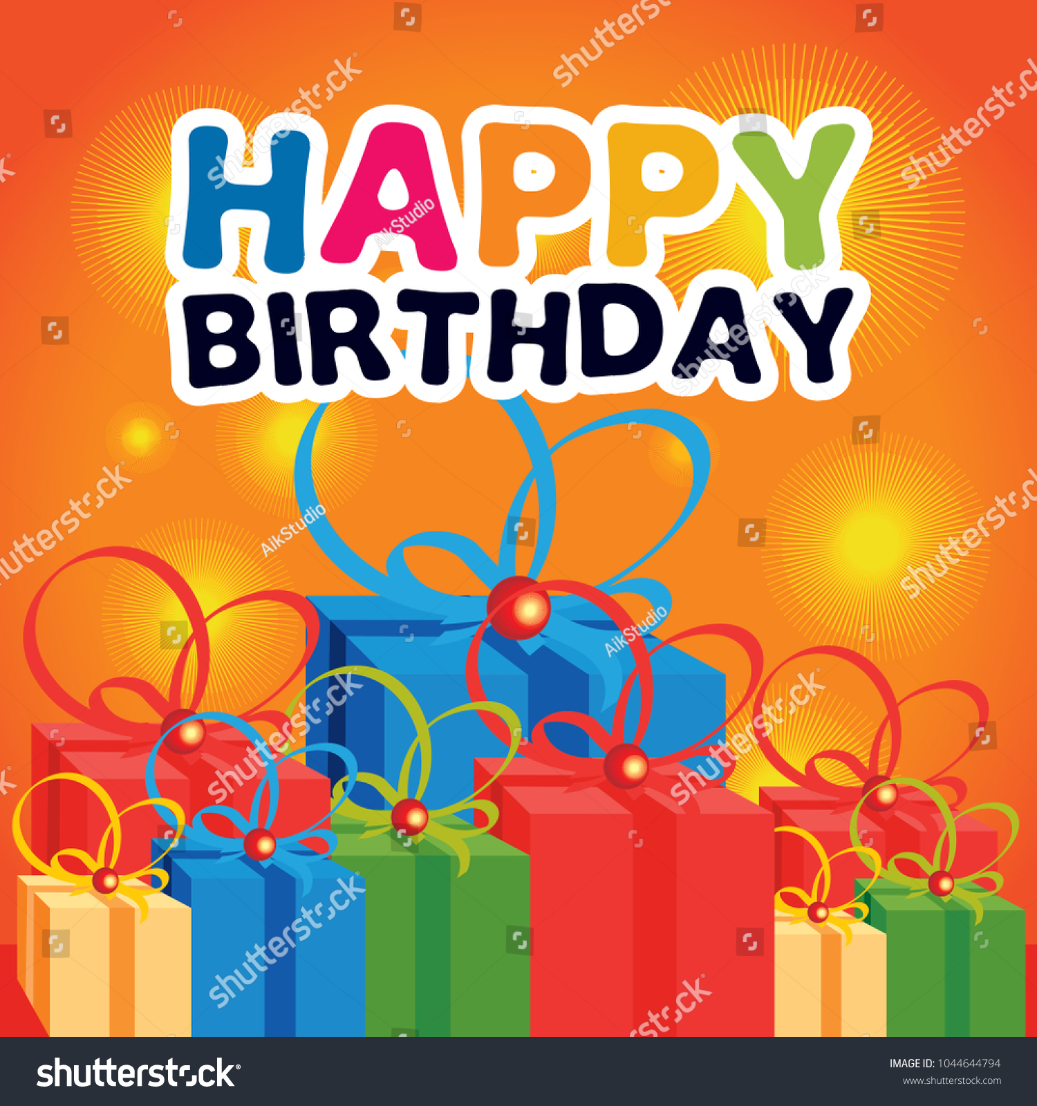 Happy Birthday Greetings Card Design Element Stock Vector Royalty