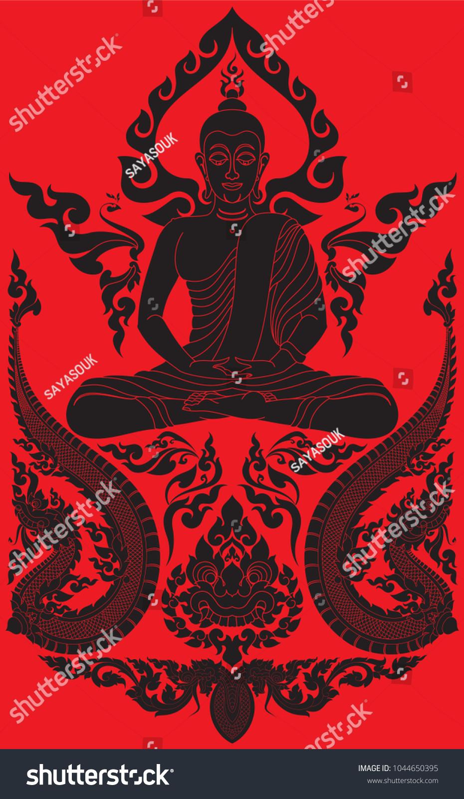 Buddha Meditation Swirl Doodle Bodhi Leaf Image Vectorielle De Stock