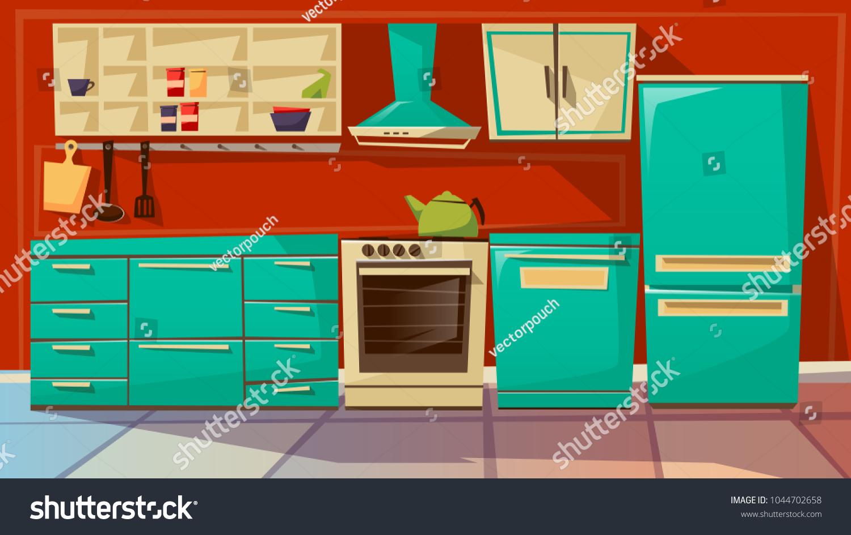 Modern Kitchen Interior Vector Illustration Cartoon Stock Vector ...