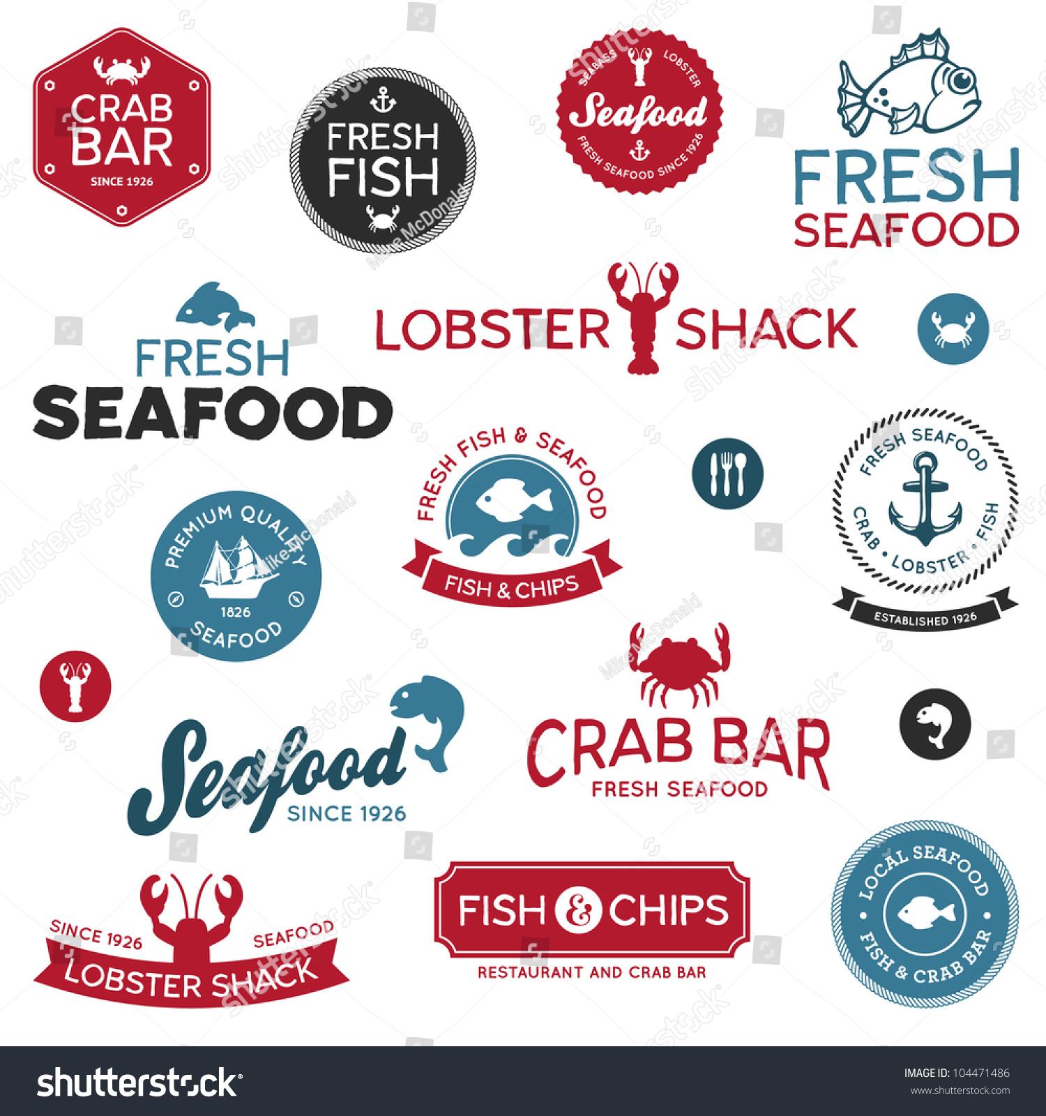 Set Vintage Modern Seafood Logo Restaurant Stock Vector