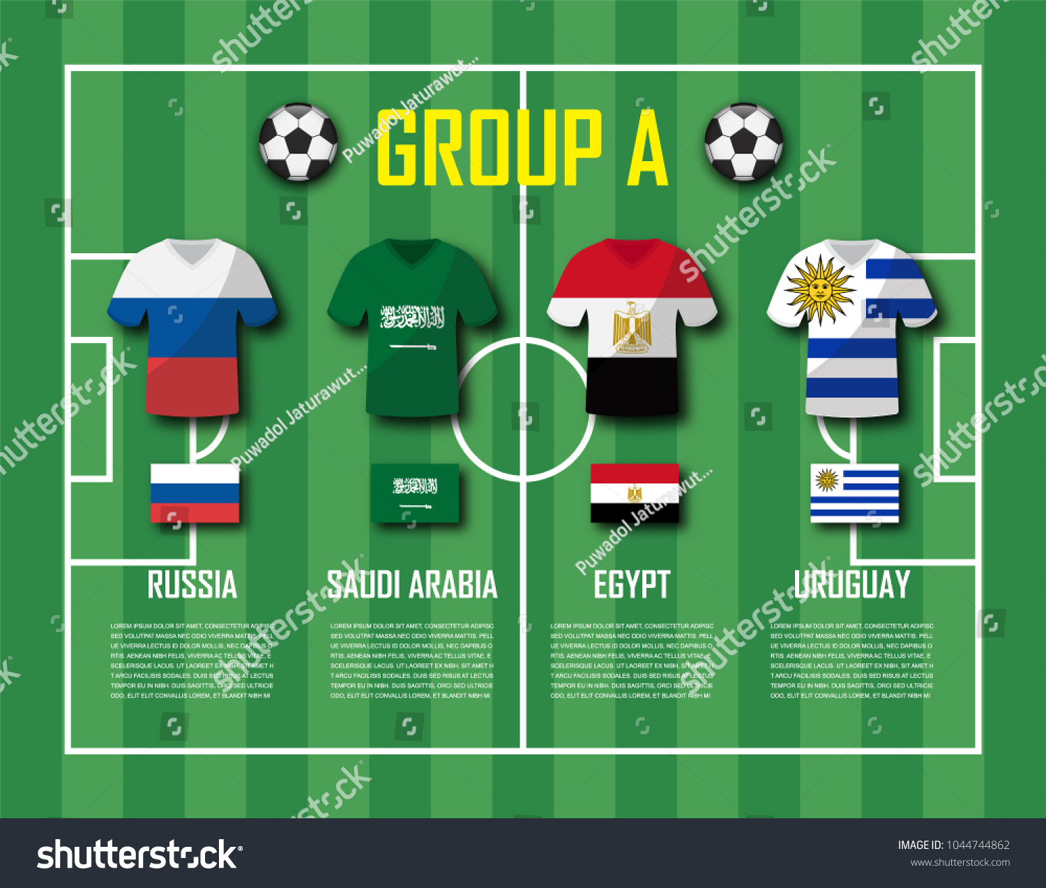 Soccer cup 2018 team group A . Football players with jersey uniform and national  flags . Vector for international world championship tournament . - Vector 8169b8518