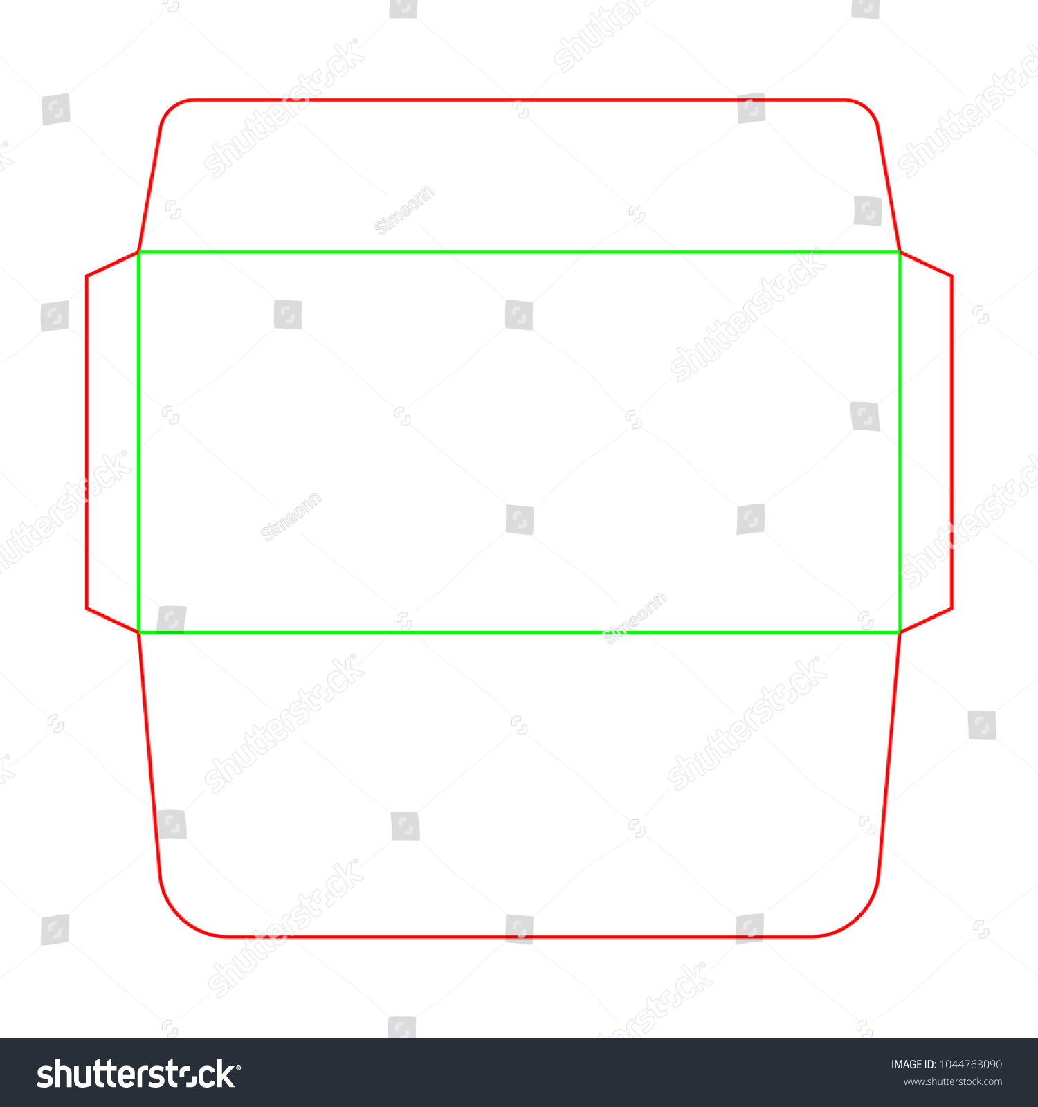Envelope DL Size Die Cut Template Stock Vector 1044763090 Shutterstock