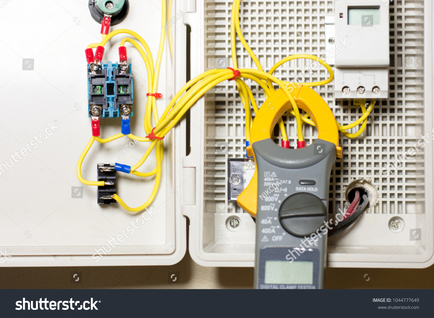 Electrical Terminal Junction Box Control Panel Stock Photo Edit Now Home Wiring Distribution With Digital Clamp Multimeter And Timer Switch