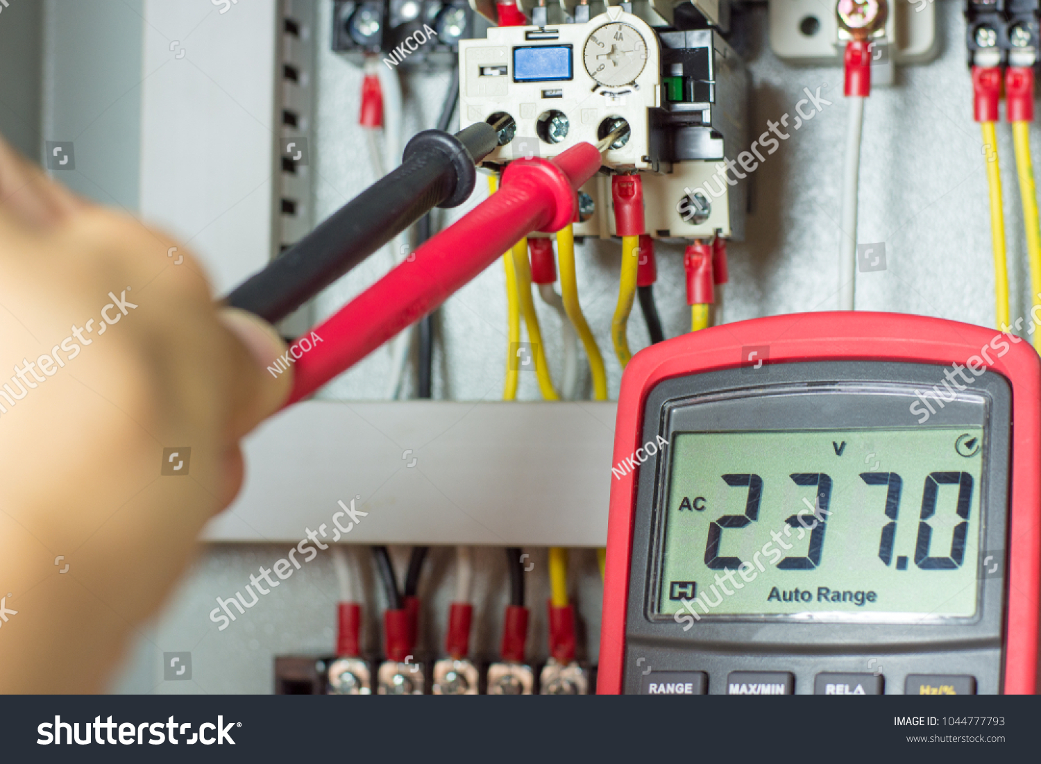 Electrical Terminal Box Control Panel Manetic Stock Photo Edit Now Home Wiring Distribution With Contactor And Overload Relaymeasuring Voltage On