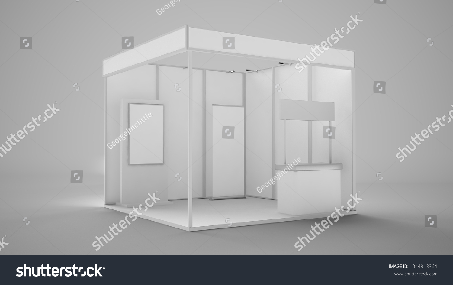 Exhibition Stand Reception Desk : D rendering exhibition stand booth interactive stock