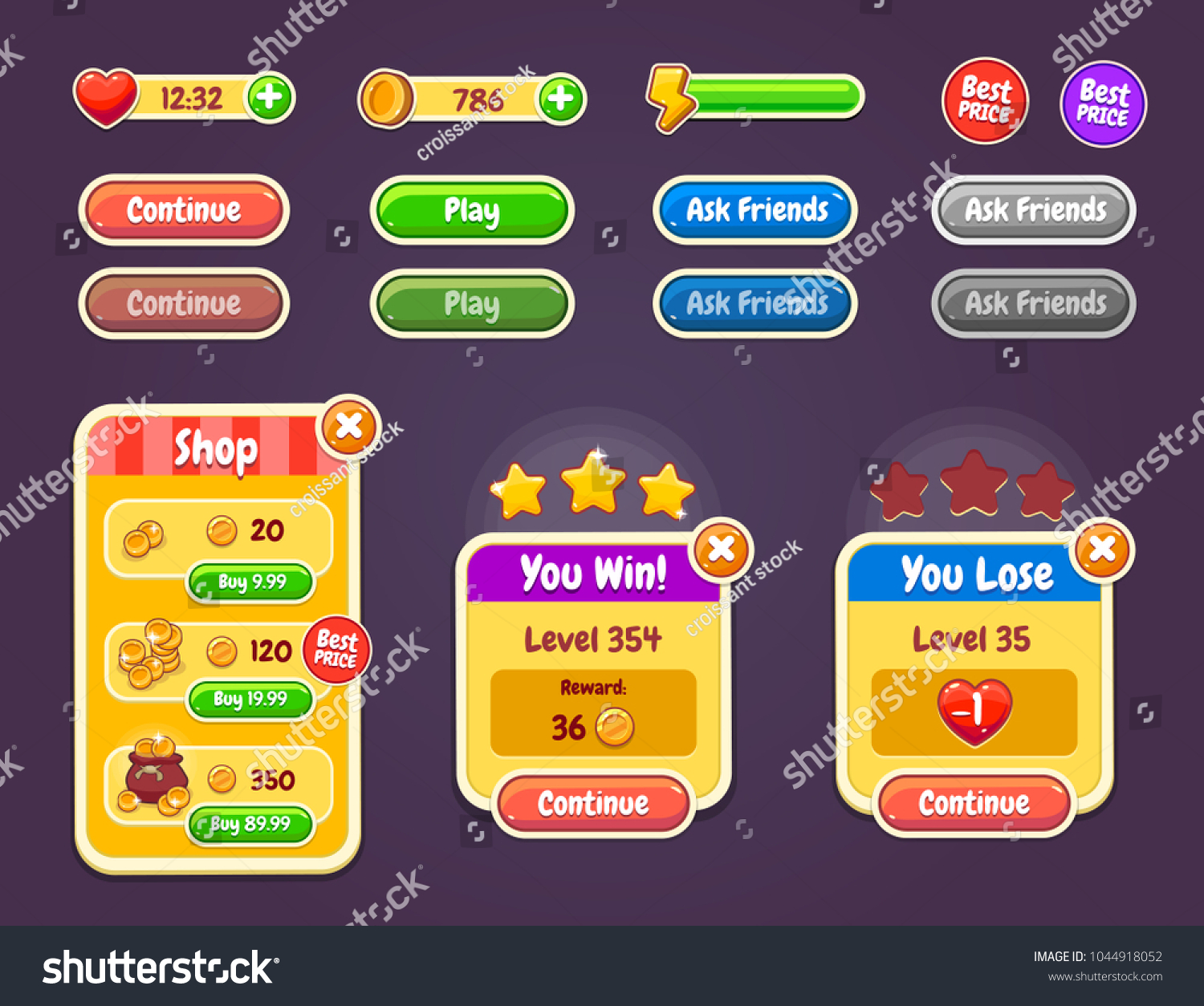 Game Ui Kit Complete Menu Graphical Stock Vector (Royalty