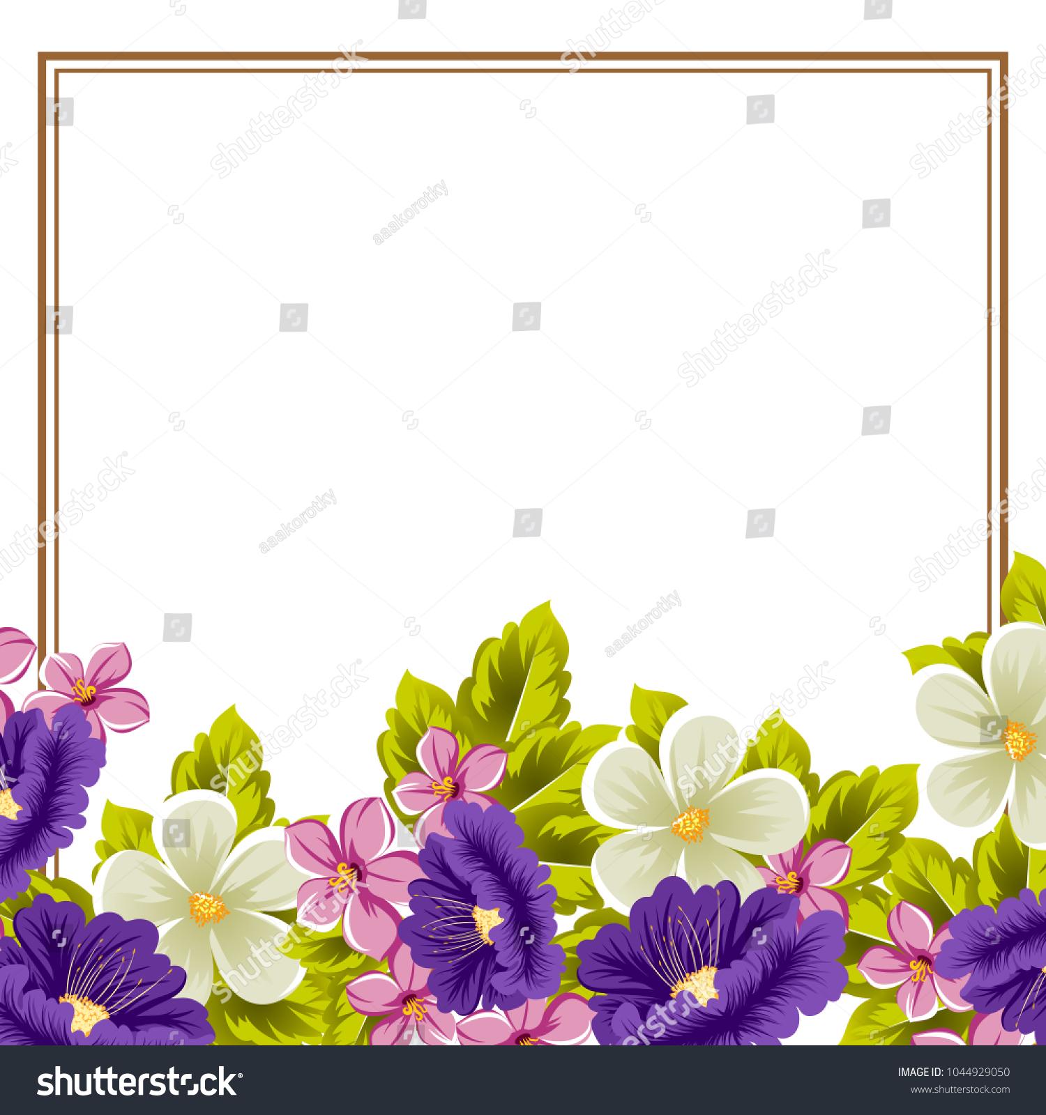Frame flowers your design postcards greeting stock vector 1044929050 frame of flowers for your design of postcards greeting cards invitations for birthday izmirmasajfo