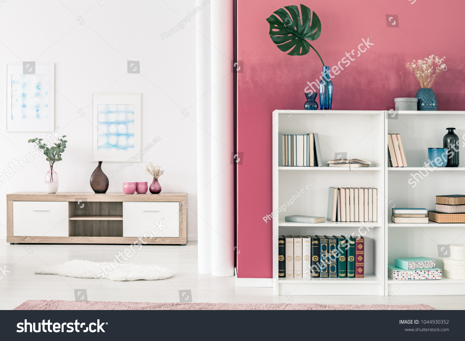 White Bookcases Wooden Shelf Spacious White Stock Photo (Royalty ...