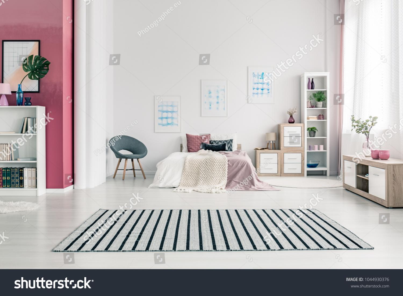Spacious Scandinavian Bedroom Interior Design White Stock Photo Edit Now 1044930376