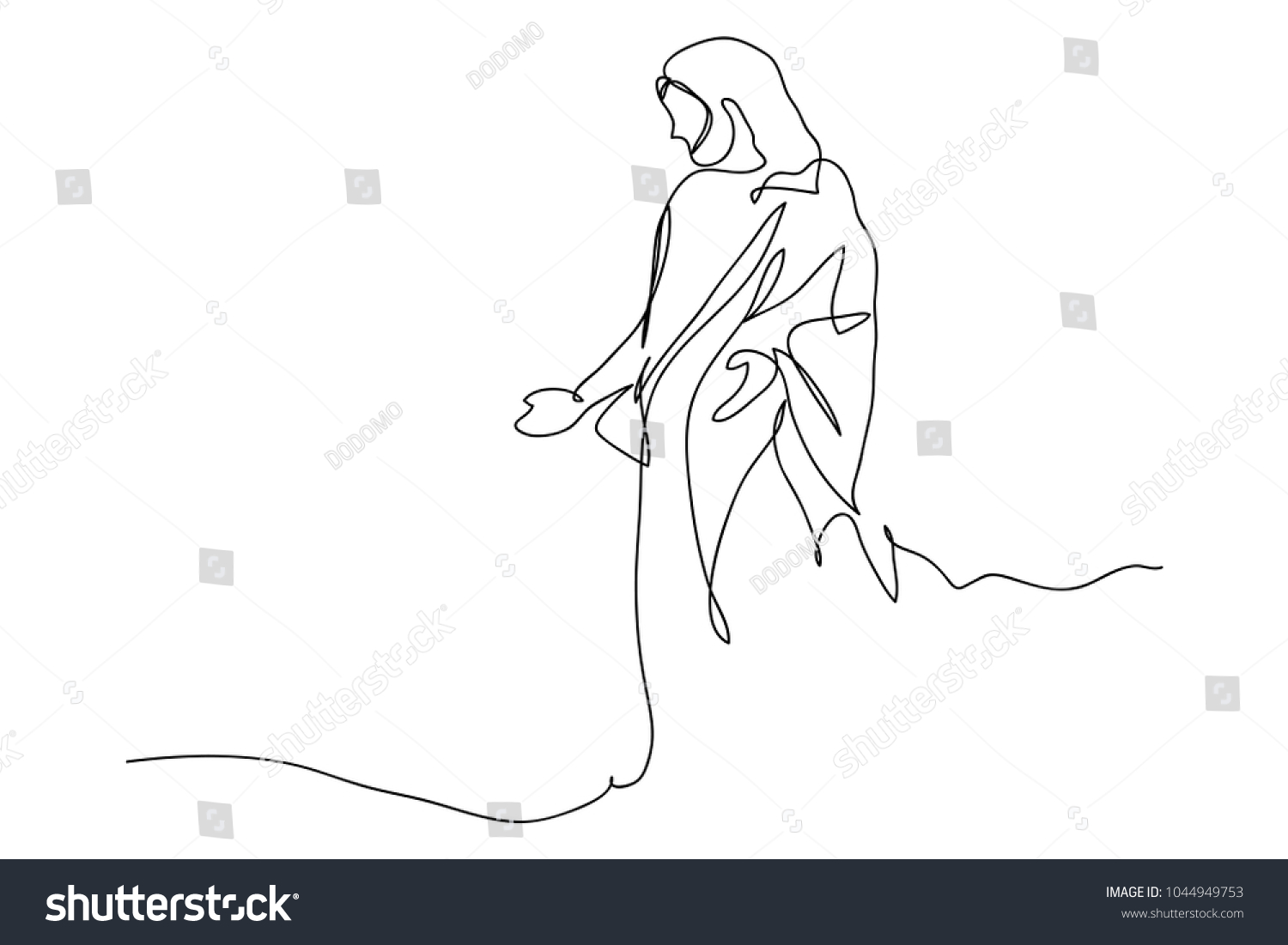 Beautiful Continuous Line Drawing Of Jesus Christ , Linear Style And Hand Drawn  Vector Illustrations