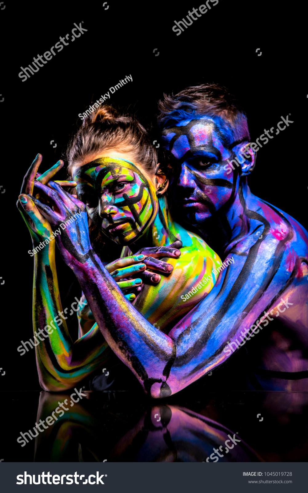 Lovers Couple Paint Abstract Art Portrait Stock Photo Edit Now 1045019728