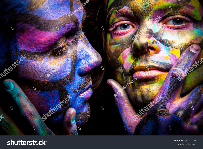 Couple Body Art Face Art Painted Stock Photo Edit Now 1045022725