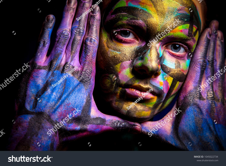 Couple Body Art Face Art Painted Stock Photo Edit Now 1045022734