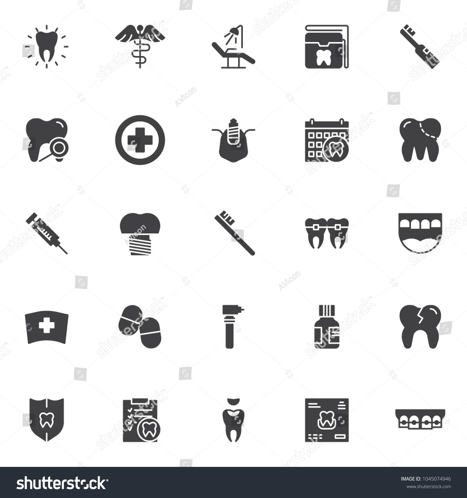 Dental vector icons set modern solid stock vector 1045074946 dental vector icons set modern solid symbol collection filled style pictogram pack signs biocorpaavc