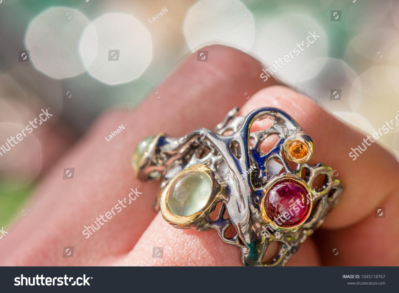 Macro Shot Silver Engagement Ring On Stock Photo (Royalty Free ...