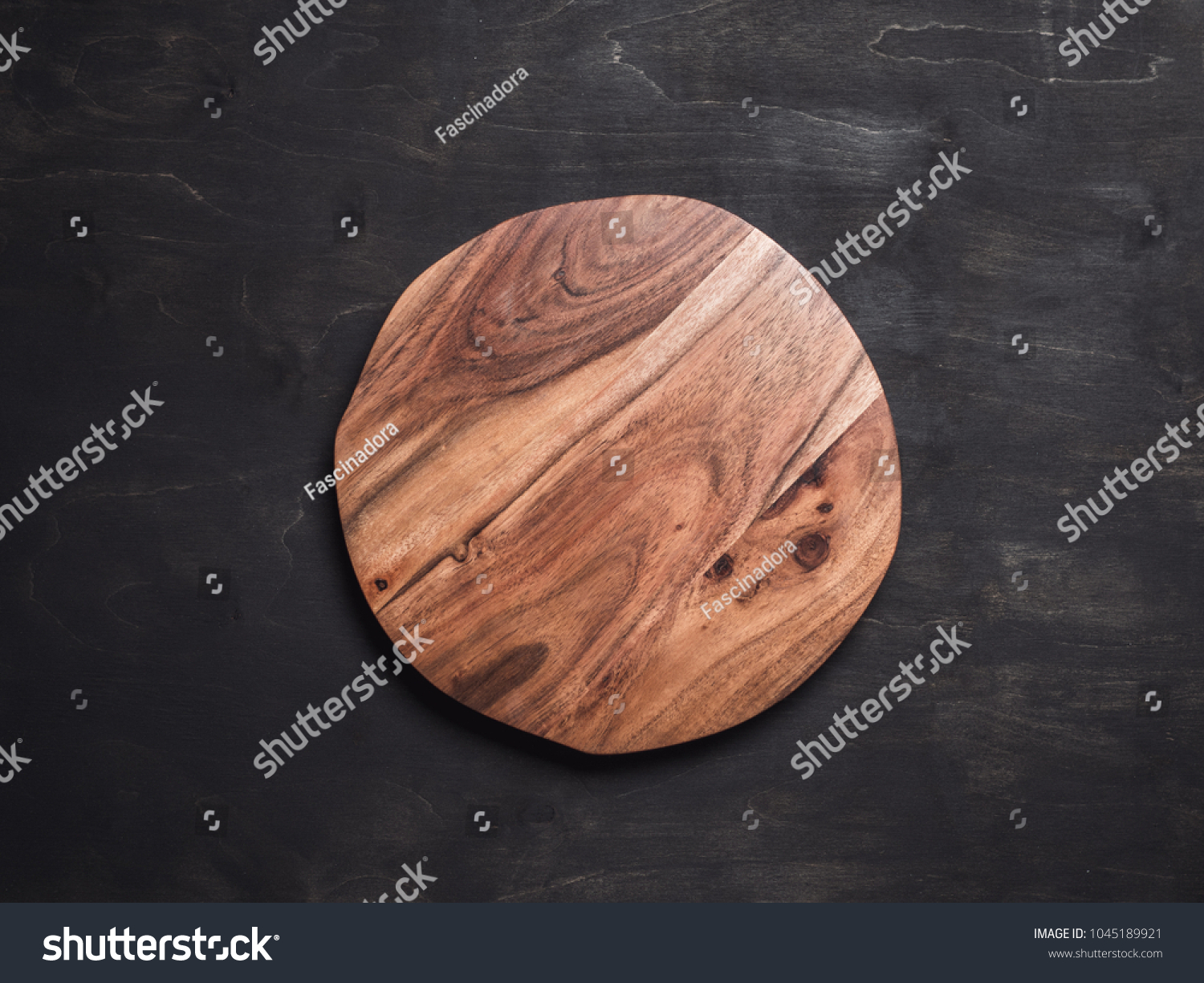 Round Wooden Tray Cutting Board On Stock Photo Edit Now 1045189921