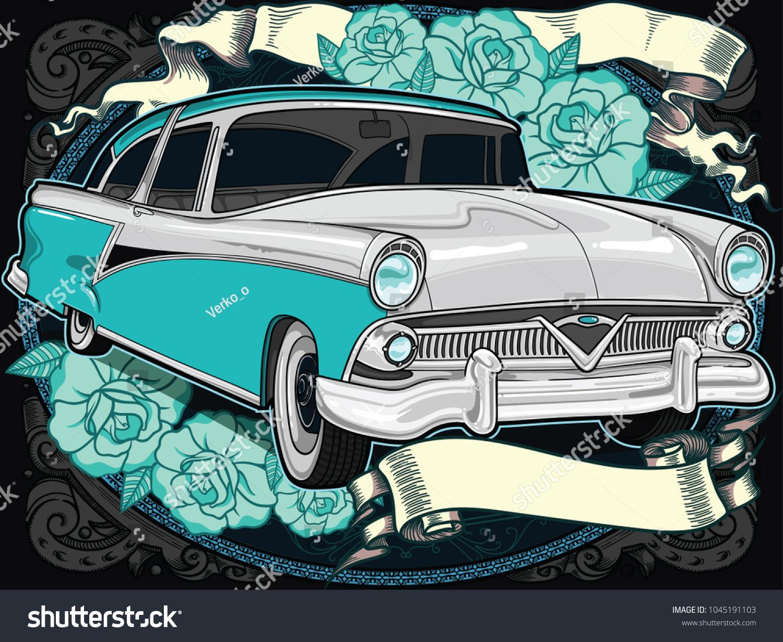 Retro Vintage Vector 60 S 50 S Automobile School Stock Vector (2018 ...