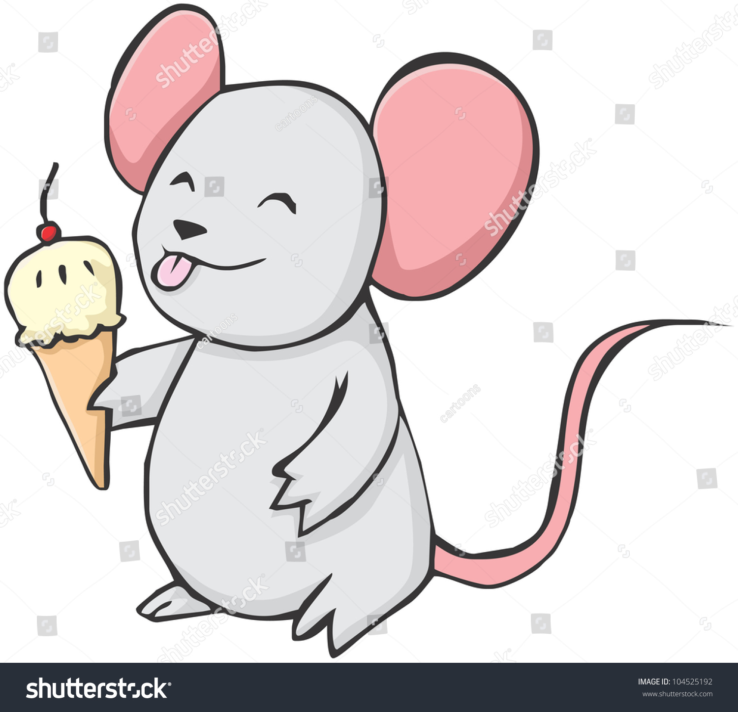 Cute Mouse Cartoon Eating Ice Cream Stock Vector 104525192 ...