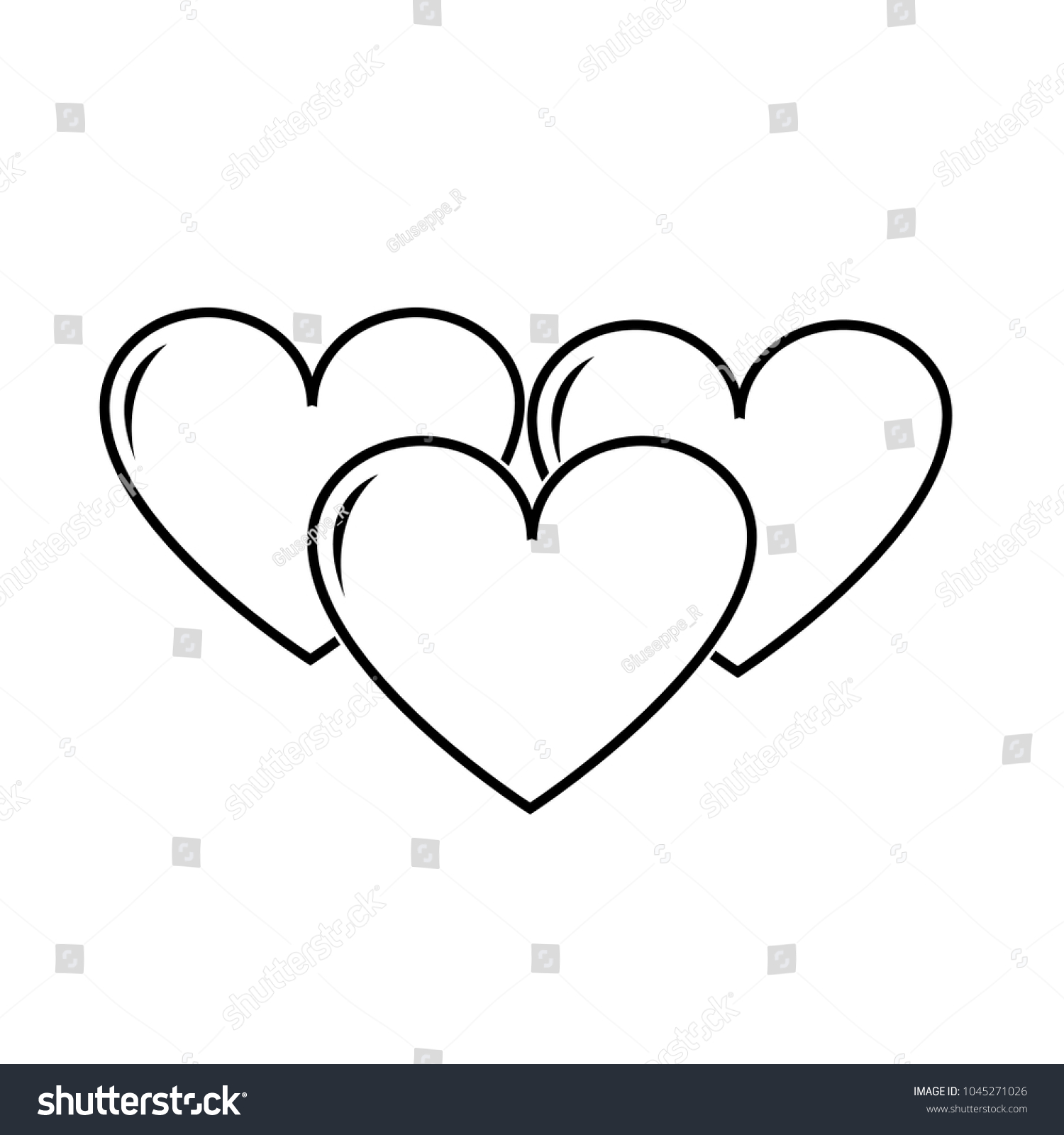 Line Hearts Love Symbol Passion Design Stock Vector 1045271026