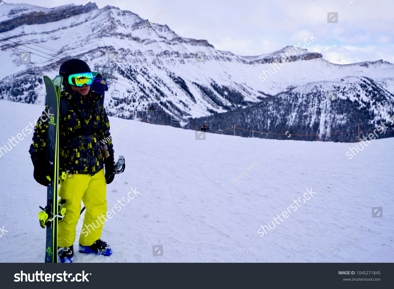 nakiska kananaskis ski resort calgary alberta stock photo (edit now