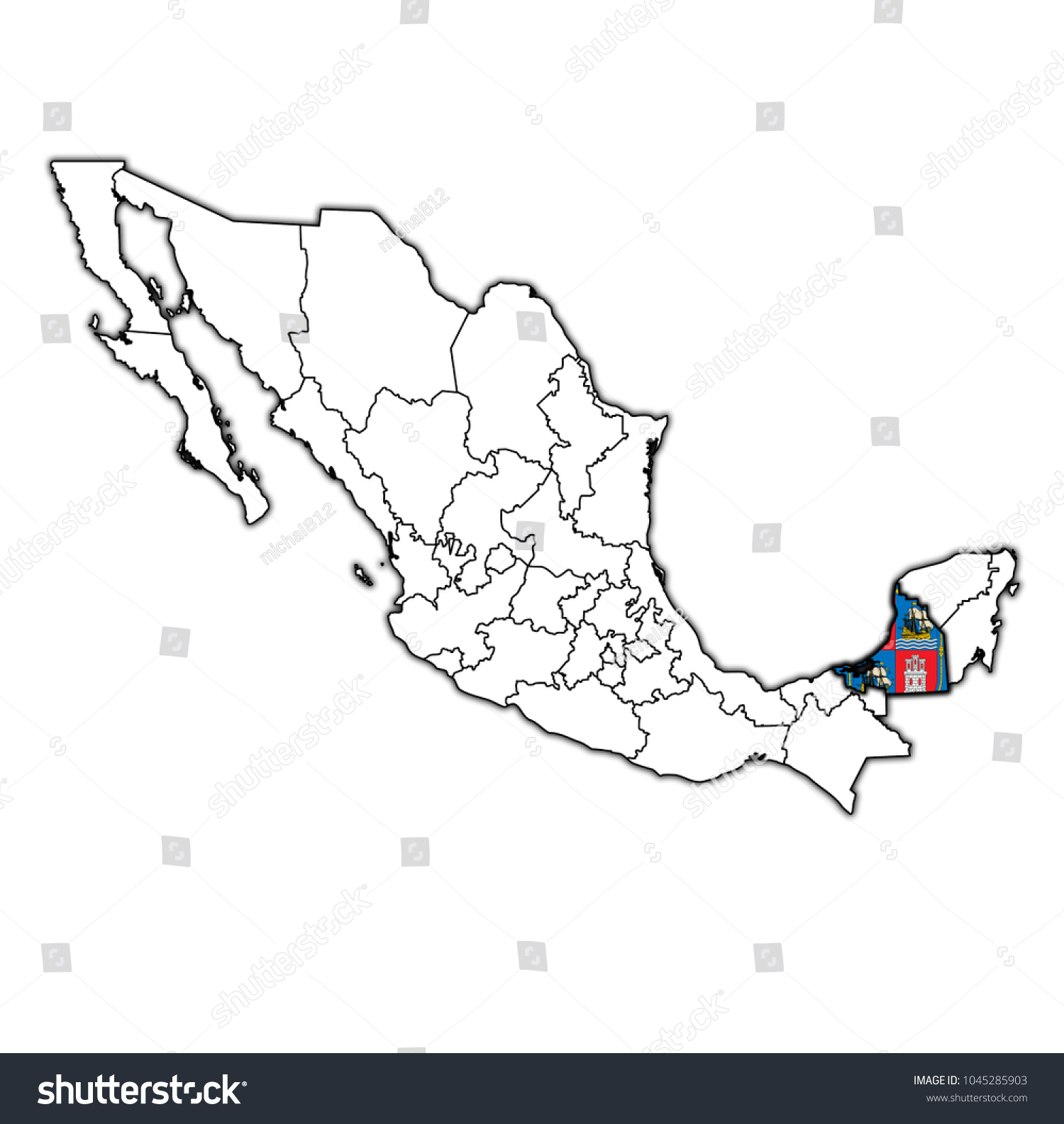 Emblem Campeche State On Map Administrative Stock Illustration