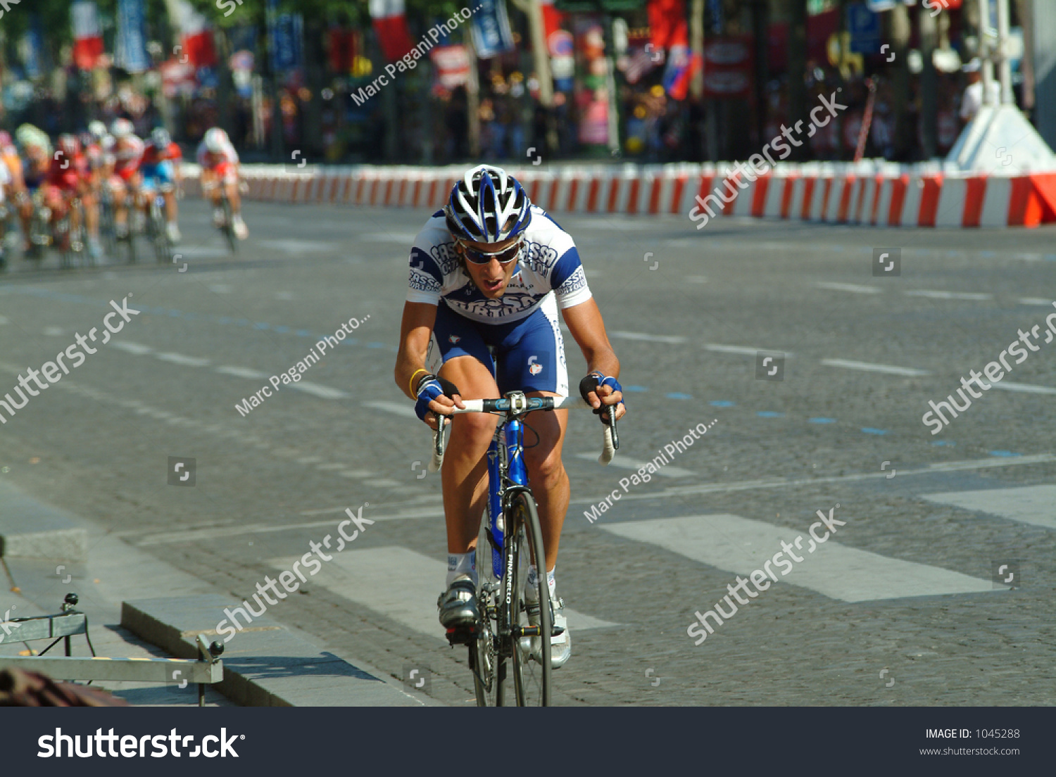 Lone Rider Breaks Away Pack Paris Stock Photo (Edit Now