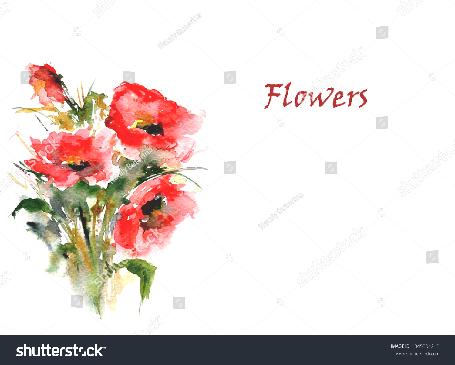 Red Flowers On White Background Card Stock Illustration 1045304242