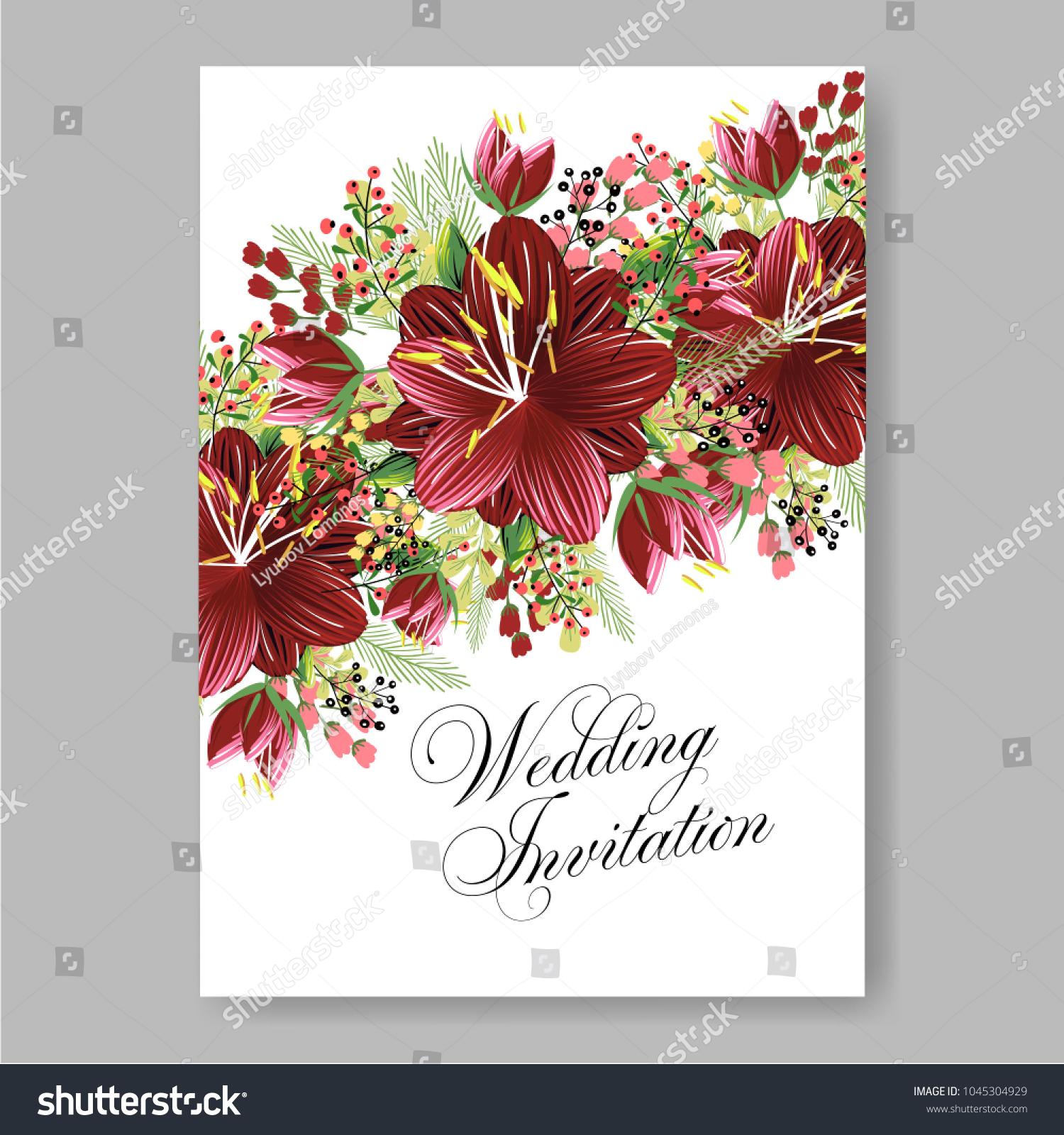 Wedding Invitation Aloha Marriage Hibiscus Floral Stock Vector ...