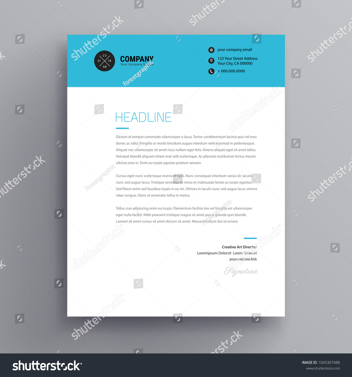 elegant letterhead cover letter template design stock vector
