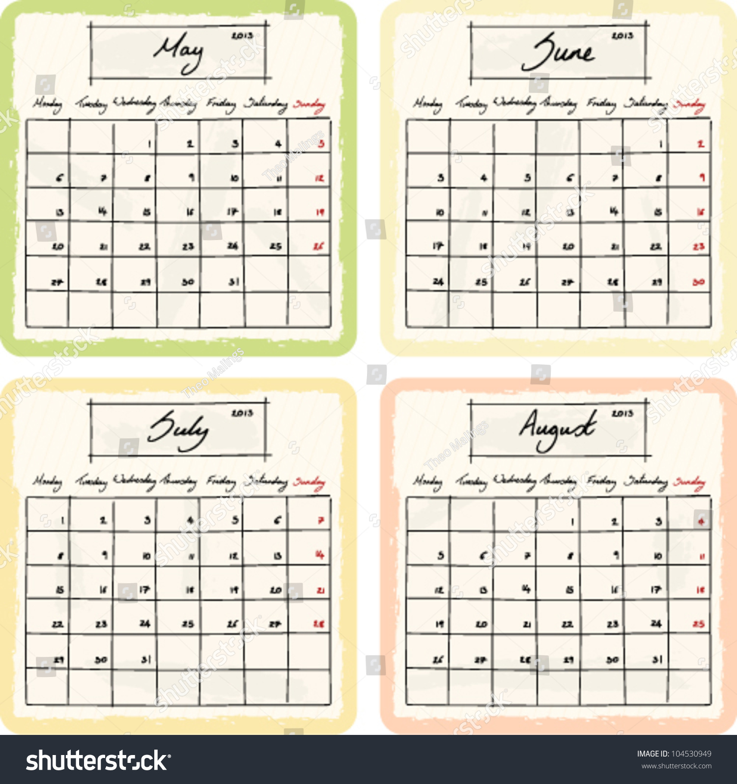 Calendar May June July August : Handwritten calendar grunge elements months stock