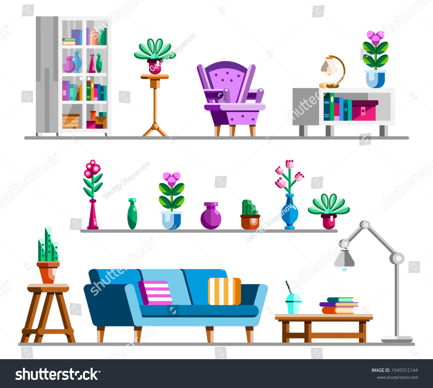 Detailed Interior Set Living Room Clipart Stock Vector 1045312144 ...