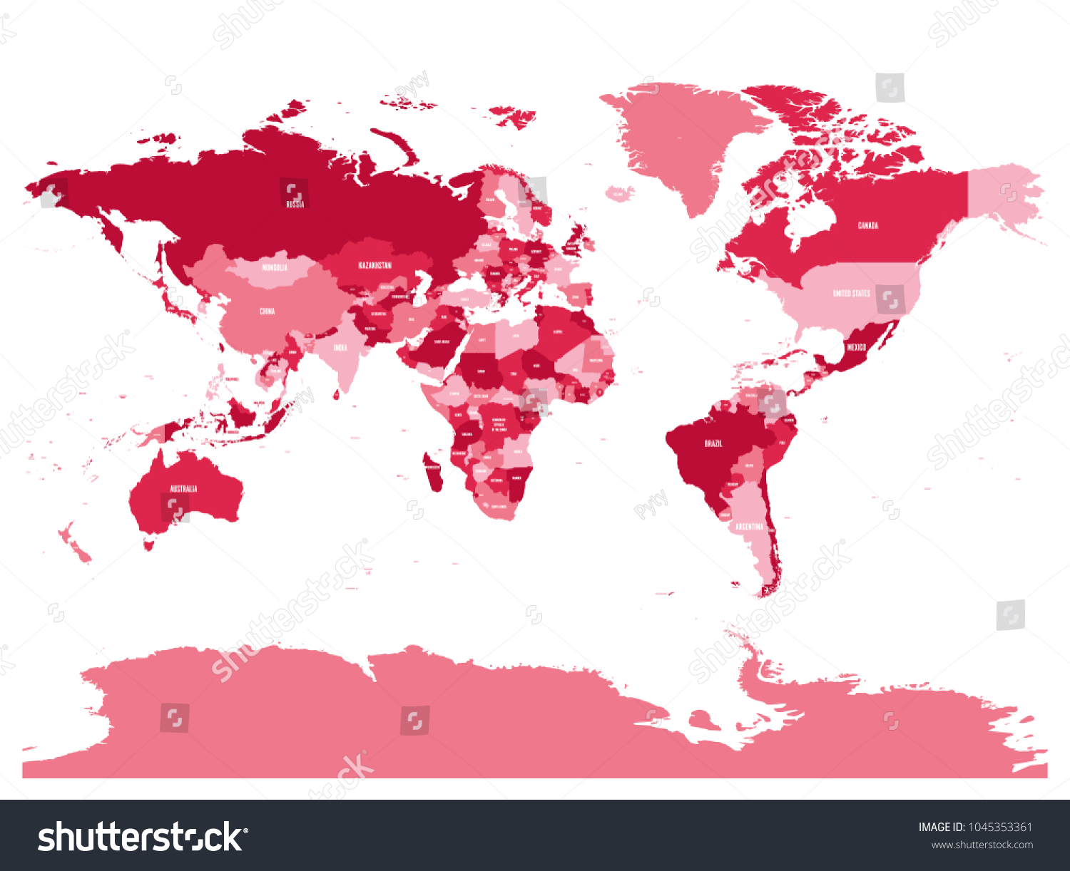 Mirrored Map Of The World.Horizontally Flipped Political Map World Mirror Stock Vector